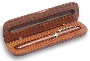 Solid Dark Wood Pen Case