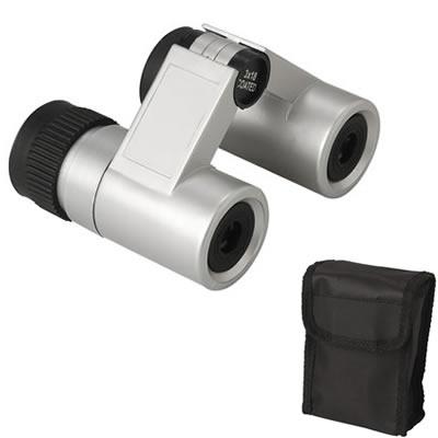 Silver Folding Binoculars In Black Nylon Pouch