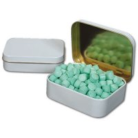 Spearmint Mini Candy Tabs In White Deluxe Tins