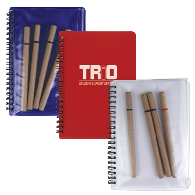 Notepad With PVC Stationery Pouch An 4 Recycled Pens
