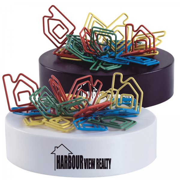 Assorted Colour House Shaped Paperclips On Paperweight Magnetic Base