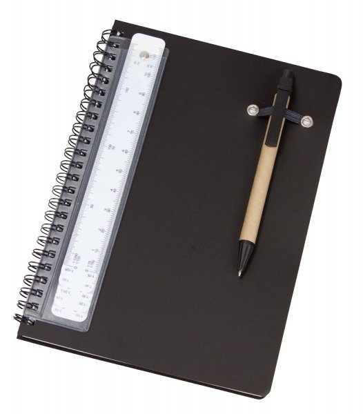 A5 Note pad with pen and scale ruler