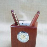 Desk Caddy With Cloc