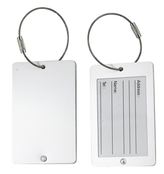 Aluminium Luggage Tag With Wire Cabel